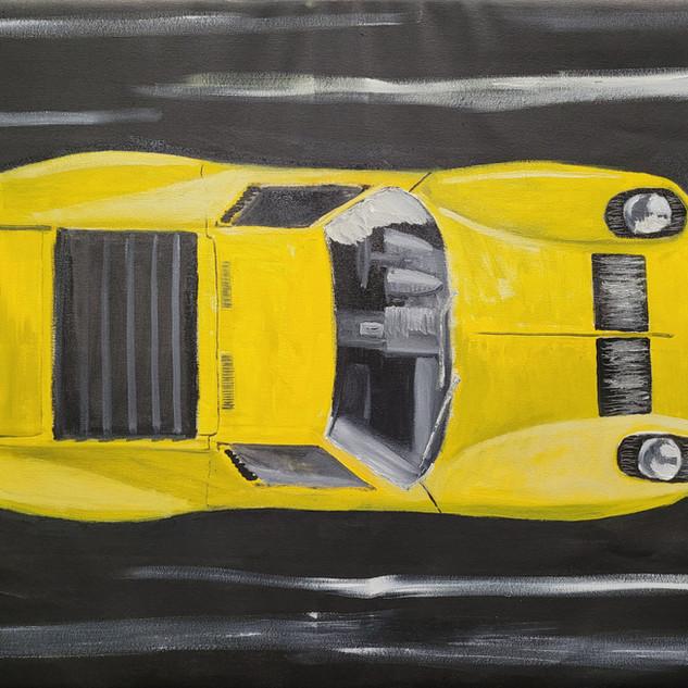 Lamborghini Miura SV, 1968, oil on canvas, 90x70x2cm, original £1,000, print £75