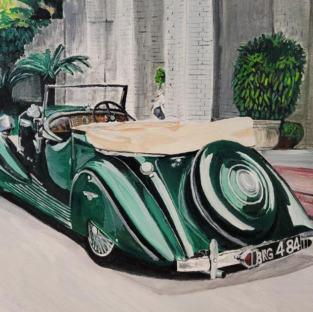 Bentley 4 and 1/4 convertible 1937, original 75x50cm sold, print A3 £75