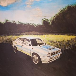 Lancia Delta Integrale 1989, watercolour, A3 size, commission sold