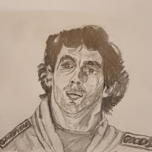 Ayrton Senna, Estoril F1, 89, pencil on paper, postcard size 150x100mm, original £100, print £40