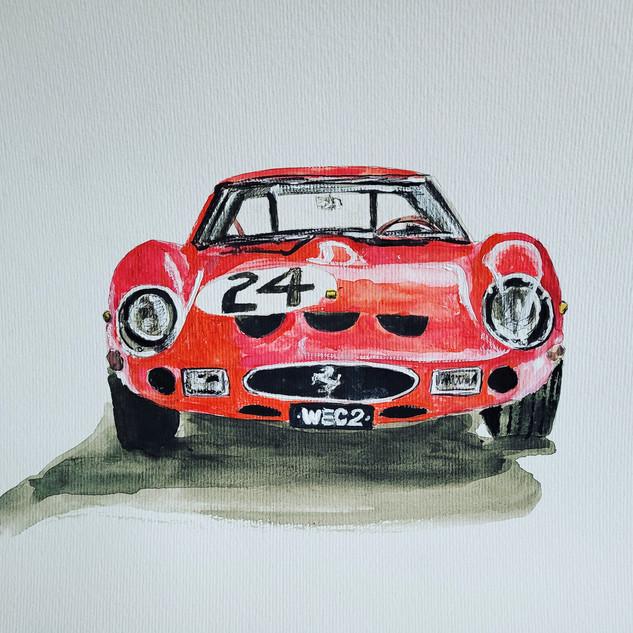 Ferrari 250GTO, watercolour, A3 size, original £250, print £75