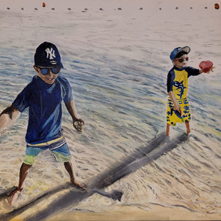 Cousins playing on the beach, Oil on canvas, 60x40x2cm
