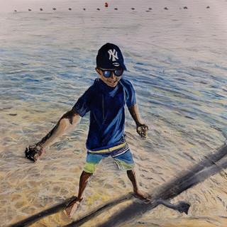 Nephews palying on a beach, oil on canvas, 70x50x4cm, original sold