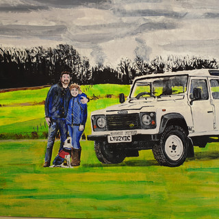 Coupe, dog, Land Rover Defender TD5, A3 size, original sold, print £75