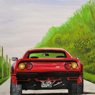 Ferrari 288GTO, 1985, oil on canvas, 86x80x2cm, original £1,000, print £75