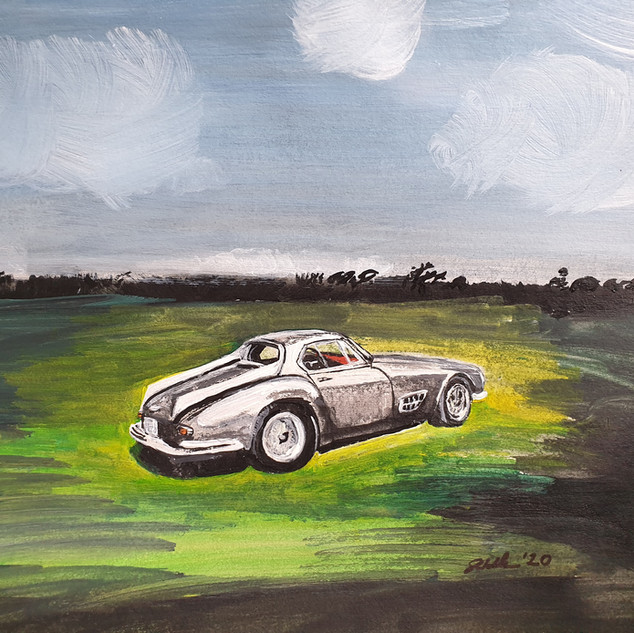 Ferrari 1955 250GT Speciale, acrylic on paper, A3 size, original £550, print £75