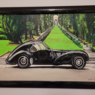Bugatti Type 57SC Atlantic, Oil on canvas, 90x60x2cm framed gloss black, £1,500, print A3 size £75