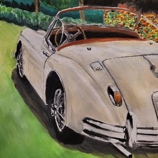 Jaguar XK150 Roadster 1958, soluble pencils, watercolour and gouache. A3 size, original sold