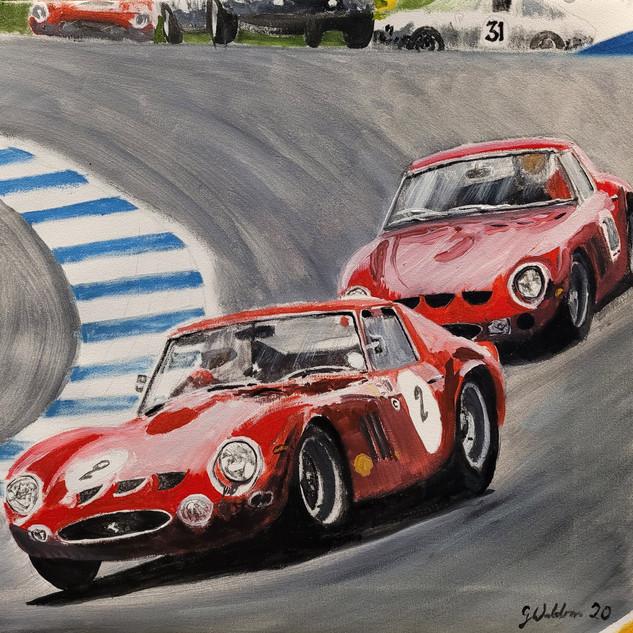 Two Ferrari 250GTOs chase, Laguna Seca Track, California, USA, oil on canvas, 60x60x2cm, original £1,000, print £75