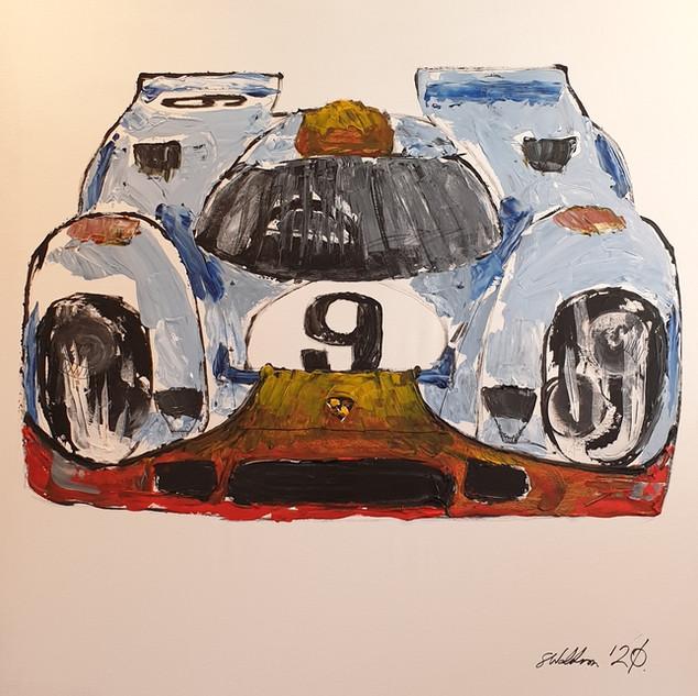 Porsche 917k, 1970, acrylic on canvas, 100x100x4cm, original £1,500, print £75