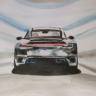 Porsche 911 Turbo S 992 model, watercolour, A3 size, orignal £250, print £75