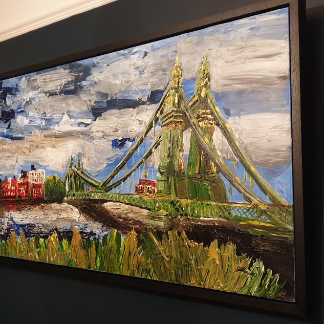 Hammersmith Bridge in Summer, 150x80x4cm, framed