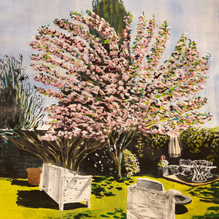 Cherry Blossom and chairs, A3, original £550, print £75