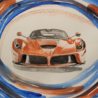 Ferrari LaFerrari 2016, watercolour, A3 size framed, £350