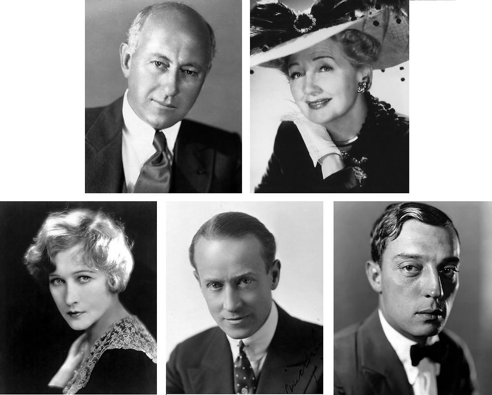 (clockwise from top left) Cecil B. DeMille, Hedda Hopper, Buster Keaton, H.B. Warner, Anna Q. Nilsson