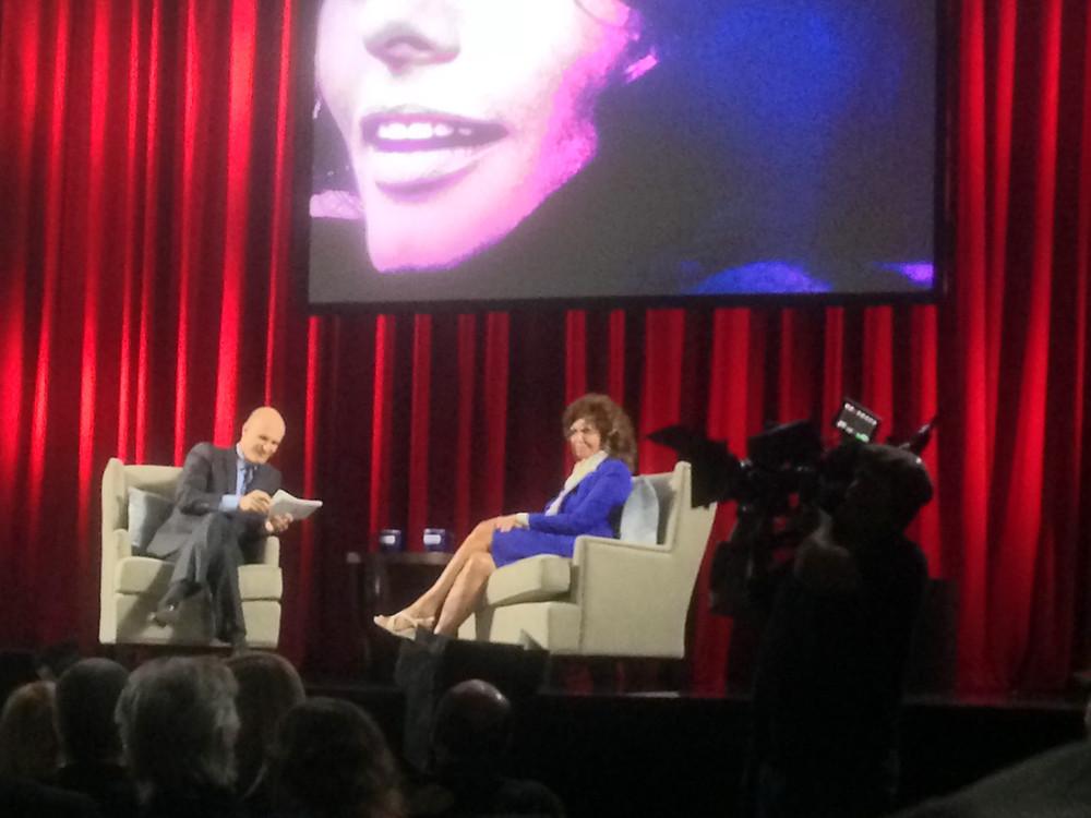 Sophia Loren being interviewed by her son, Edoardo, at the TCM FIlm Festival