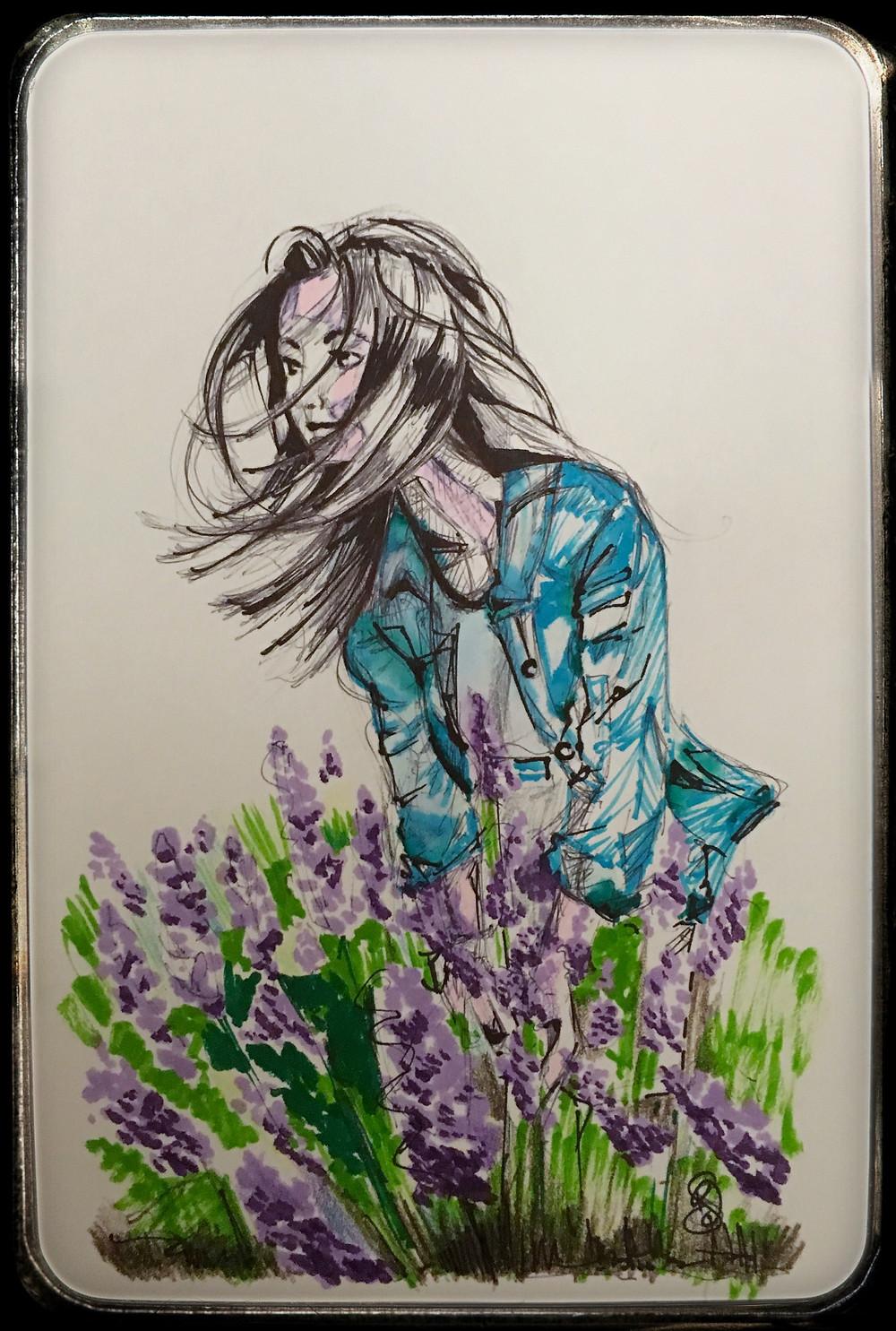 Sketch Book Lavender Field Portrait