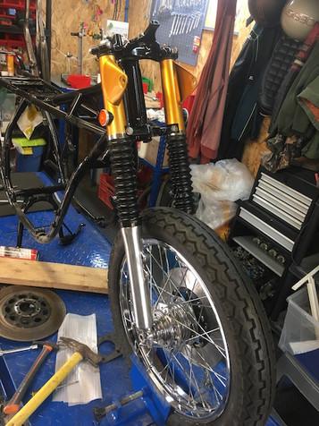 Montage fourche et roue avant