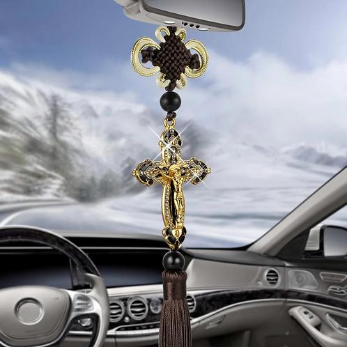 Krzyż Św. Krzysztofa- Patrona kierowców ZŁOTA kolorystyka