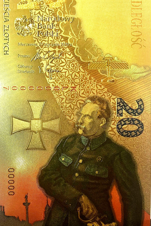 Banknot kolekcjonerski 20 zł Bitwa Warszawska pozłacany