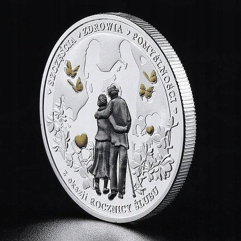 """Posrebrzany Medal """"Rocznica Ślubu"""". Moneta -ponadczasowy prezent"""