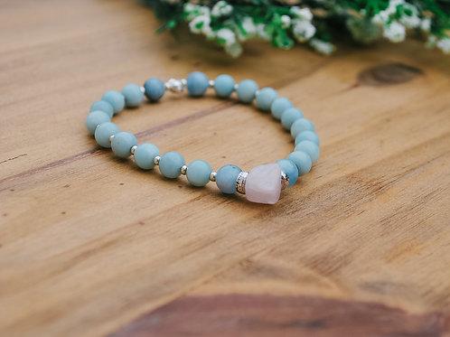 Aquamarine & Rose Quartz Mala Bracelet