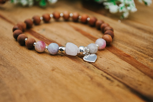 "ROSE QUARTZ & PINK TOURMALINE: ""I am Love"" Mala Bracelet"
