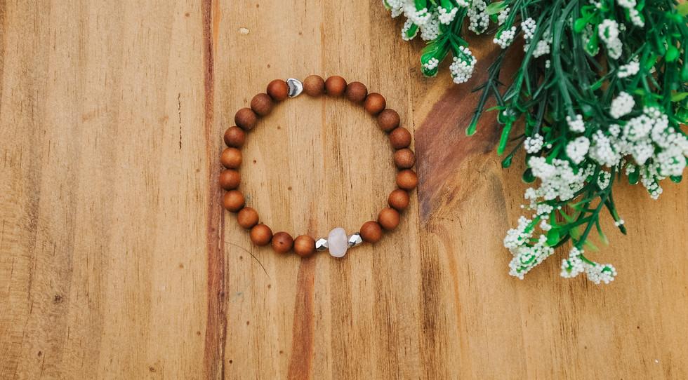 kids rose quartz mala bracelet
