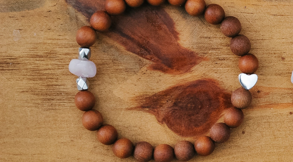 Child mala bracelet: single heart