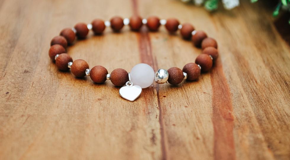 Round rose quartz & sandalwood mala bracelet