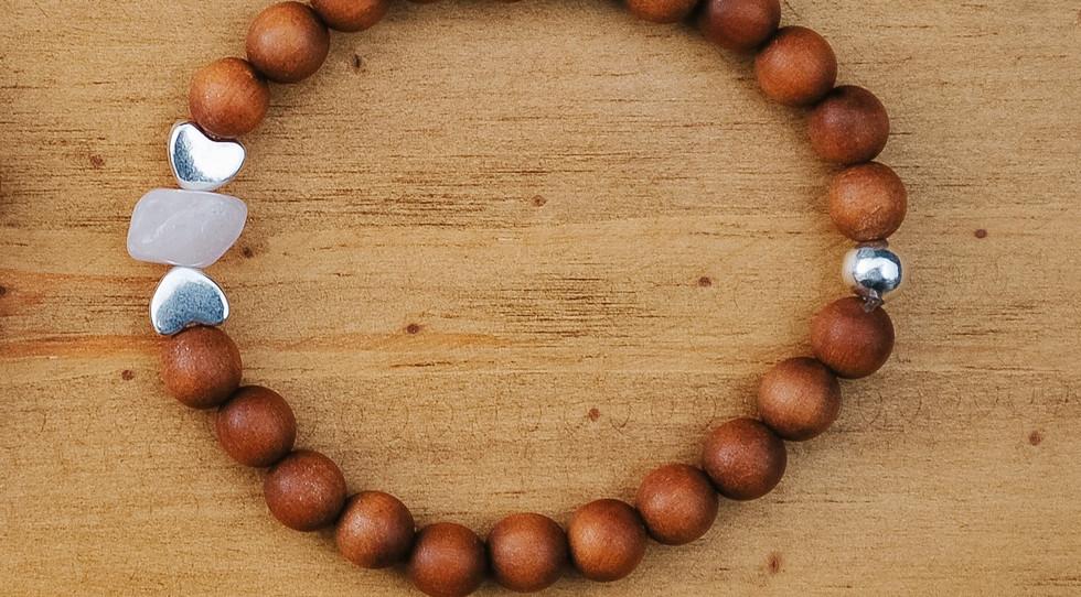 Child mala bracelet: double heart
