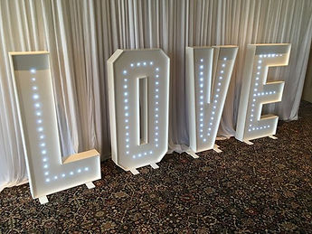 light up letters love wedding