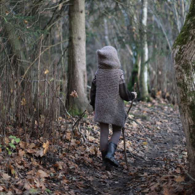 Knitted Hooded Vest for kids. Hipster style. (KNITTING PATTERN) Little wanderer. Into the woods. Sustainable kids fashion. Handmade with love, by you.
