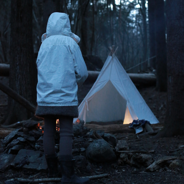 Kids adventures. Forest camp with teepee.