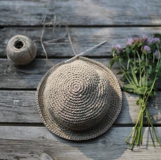 Behind the scenes. Crochet hemp hat. Kids hipster style. Pattern in store.
