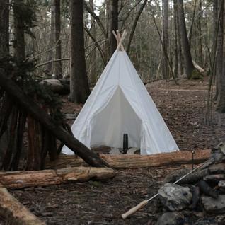 Stor Hipster Tipi (canvas, 5 stenger). Kids forest camp.