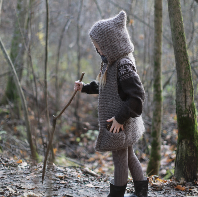 Knitted Hooded Vest for kids. Hipster style. (KNITTING PATTERN) Explore more. Sustainable knitting. Handmade with love by you.