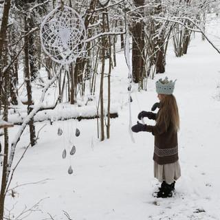 A little princess of the winter forest | Large Dream Catcher | Crochet Pattern | Hipster Crochet Crown | Knitted Hipster Jumper