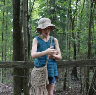 Knit & crochet pattern designs. Tunic hemp hat and handbag. Kids hipster style.