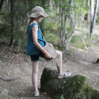 Forest girl with hemp handbag. Crochet pattern in store.