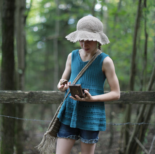 Handmade with love by you. Knitted tunic, crochet hemp hat and crochet hipster handbag for kids. Patterns in store.