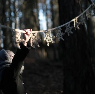 Crochet Snowflake Bunting for kids. Hipster style. (CROCHET PATTERN)