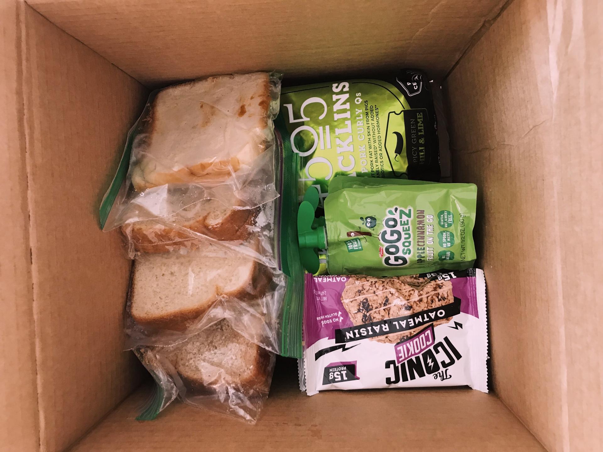 weekly box using donated goods