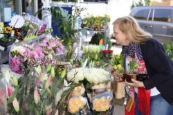 Customer admires the flowers at Jet Petrol Station