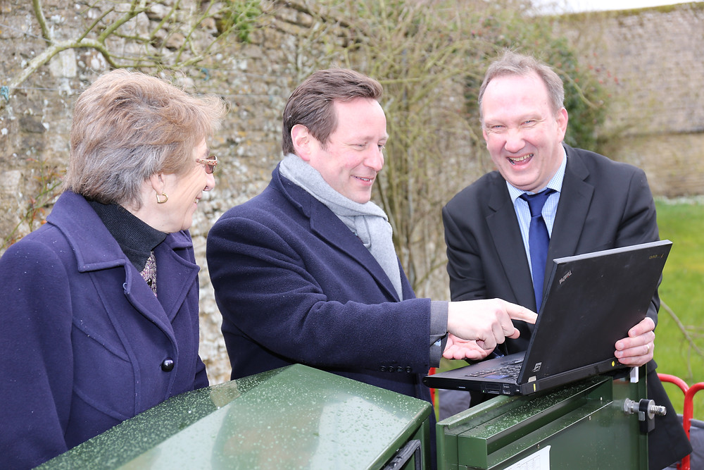 Government minister Ed Vaizey with BT at village of Pusey