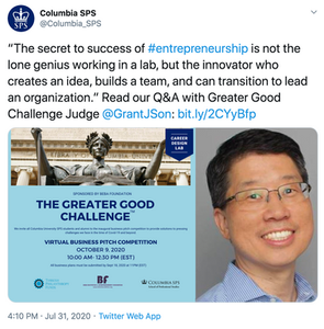 Grant Son Joins Greater Good Challenge as Judge