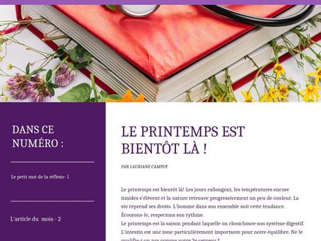 Bulletin d'information réflexologie et conseil en naturopathie  de mars 2021