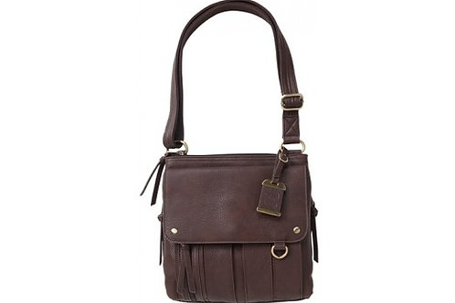 BULLDOG CONCEALED CARRY PURSE MED. CROSS BODY CHOCOLATE BRN