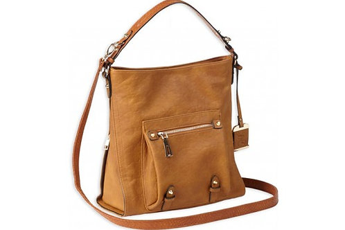 BULLDOG CONCEALED CARRY PURSE HOBO ANNA COGNAC