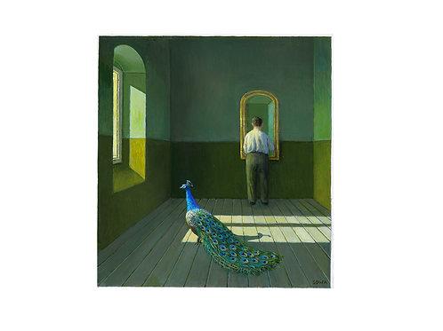 """Pigmentdruck: """"Mann mit Pfau"""" von Michael Sowa"""